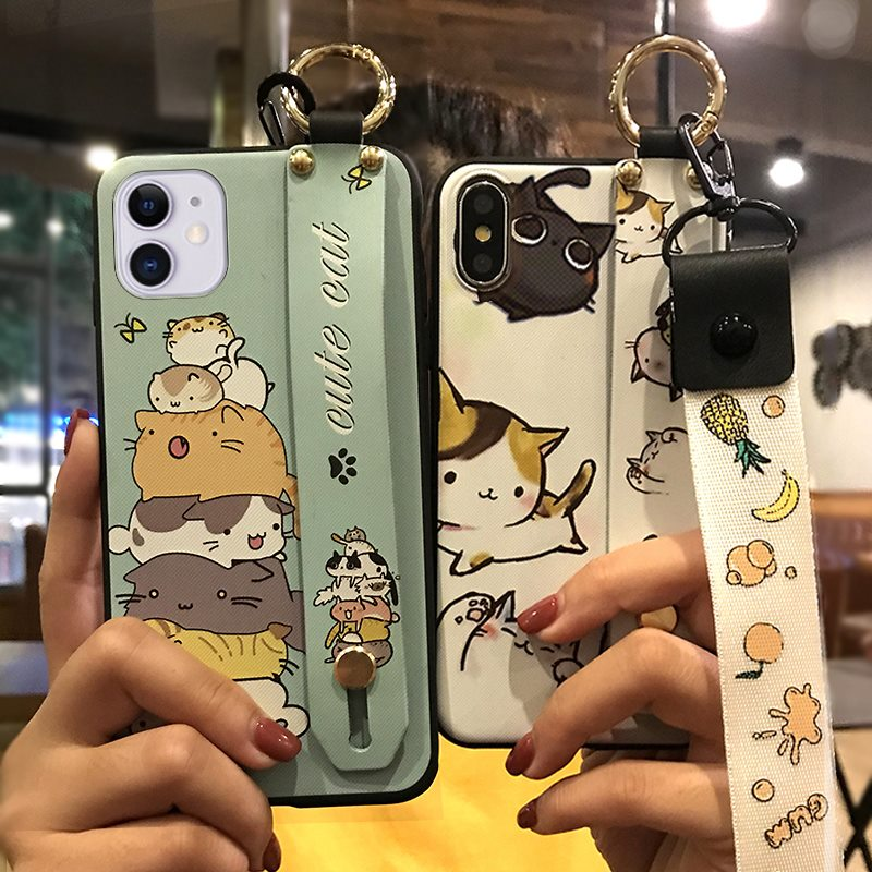Shockproof Phone Case For Iphone 11 Lanyard Cute Cartoon Series Delicate TPU Cover Holder Phone Silicone