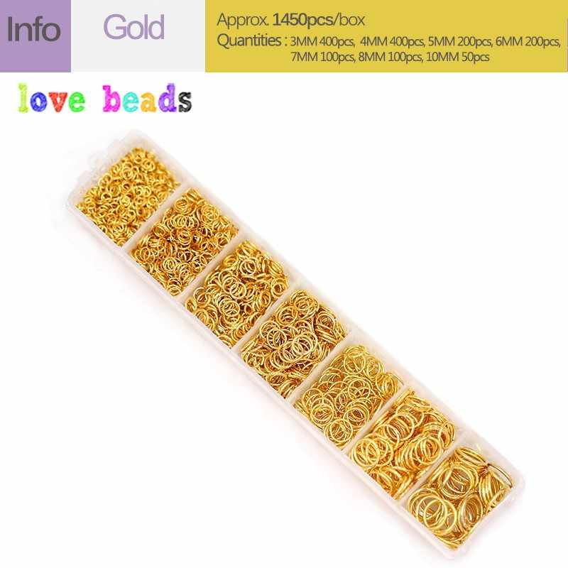 1450 Chiếc Mở Nhảy Nhẫn Trang Sức Làm Bộ Dụng Cụ Để Tự Làm Trang Sức Phát Hiện Hộp Vàng Màu Bạc Chia Nhẫn Kết Nối 3-10 Mm