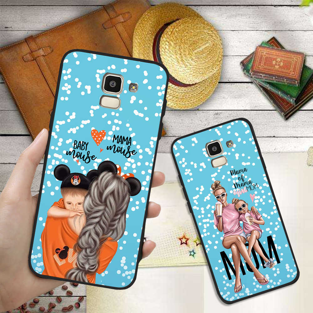 Mama สาว mom Baby แผ่น DIY กรณีโทรศัพท์ที่กำหนดเองสำหรับ Samsung Galaxy S10 S8 S6 S7 S9 J2 J3 J5 j7 J4 J6 J8 2018 Plus Etui