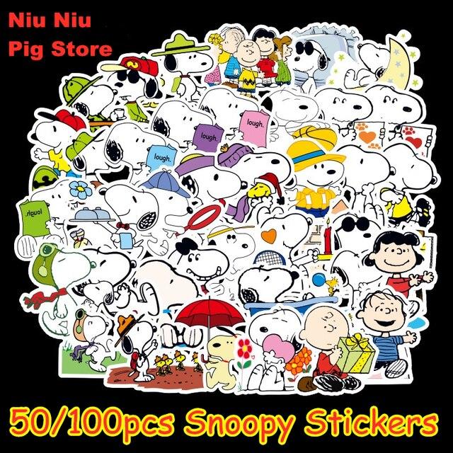 100 adet karikatür Snoopy çıkartmalar dizüstü kaykay bagaj çıkartması ofis oyuncak aletleri netbook su geçirmez çıkartmalar