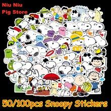 50/100 pièces dessin animé Snoopy autocollants pour ordinateur portable Skateboard bagages décalque bureau jouet appareils netbook imperméable autocollants