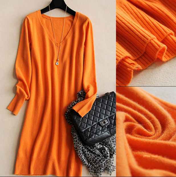 Cashmere sweater dress 2019 Autumn Winter women sweaters and pullovers V-Neck Knitted long Sweater Women Pull Femme Hiver