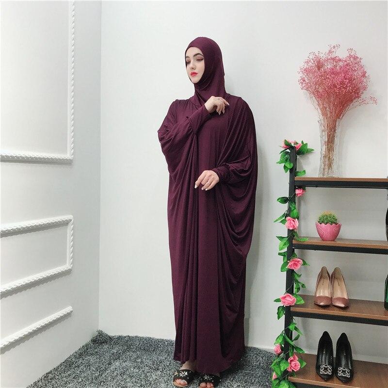 Women Muslim Worship Lady Thobe Gown Hijab Prayer Garment Sleeve Middle East Robe Islamic With Hood Abaya Praying Hijab Dress