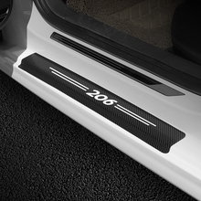 4PCS Car Scuff Plate Door Sill Panel Protector Stickers 3D Carbon Fiber High Quality Door Sill Decal For Peugeot 206 Accessories