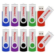 J boxing usb flash drive 10 unidades/pacote 1gb 2gb 4gb 8gb 16gb 32gb pendrive metálico giratório, vara de memória colorida para presentes