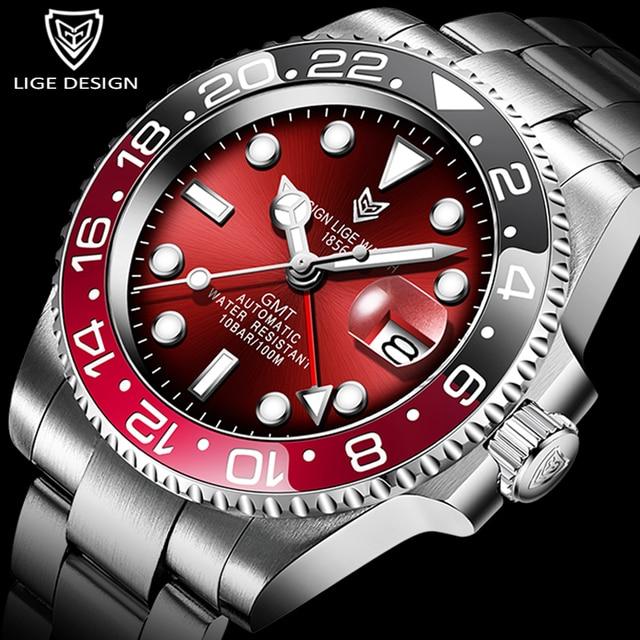 LIGE DESIGN Men GMT Automatic Mechanical Watch Ceramic Bezel 316L Stainless Steel 100ATM Waterproof Clock Sapphire Glass Watches 1