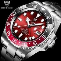 LIGE-reloj mecánico automático de acero inoxidable para hombre, con bisel de cerámica, 100ATM, impermeable, de cristal y zafiro, 316L