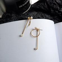 S925 Silver Needle Korean temperament Pearl Post Earrings Golden plated Circle Single Bar Drop Women Jewelry Gift