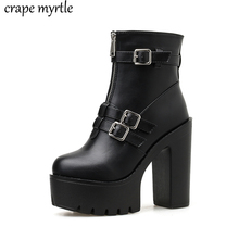waterproof women high heels boots Women rubber ankle western Ankle Boots Platform Shoes Winter punk YMA936