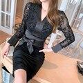 Новое поступление, модное весеннее вечернее платье миди для женщин, соблазнительное черное прозрачное ацетатное облегающее платье-каранда...