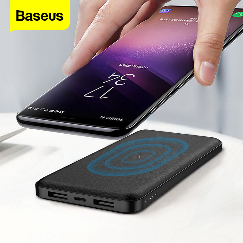 Baseus 10000mAh Qi Wireless Charger Power Bank External Battery Wireless Charging Powerbank For iPhone11 X Samsung huawei Xiaomi|Power Bank|   - AliExpress