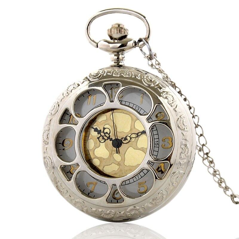 Vintage Silver Hollow Quartz Pocket Watch With Chain Retro Gold Dial Men Women Pendant Necklace Clock  Gift