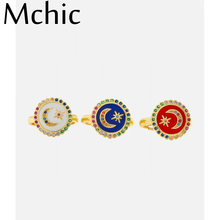 Mchic Fashion Moon Star Round Open Rings Minimalist Enamel Cubic Zirconia Rings for Women Party Anillos Mujer кольцо женское belki rings черное кольцо numbers