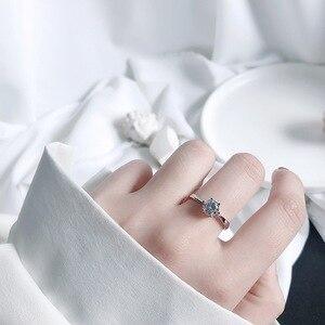 Image 4 - Zobei Kleine Lab Diamond Opening Ring Echt 925 Sterling Zilveren Engagement Ring Crystal Solitaire Trouwringen Voor Vrouwen