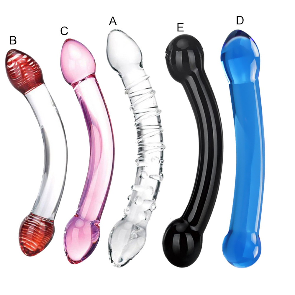 Pyrex <font><b>Glass</b></font> <font><b>Dildo</b></font> Fake Penis Crystal <font><b>Anal</b></font> Beads Butt Plug Prostate Massager G Spot Female Masturbation <font><b>Toys</b></font> image