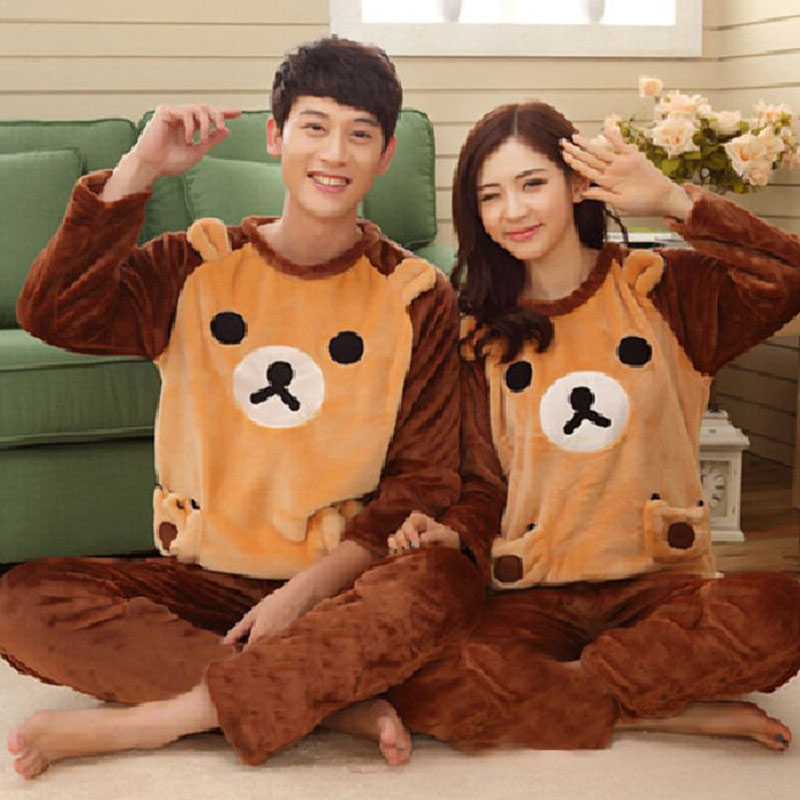 Adult Unisex Couple Pajamas Flannel Cute Animal Pajamas Set Winter Warm 2 Pieces Sleepwear Thicken Home Service Men Pyjamas