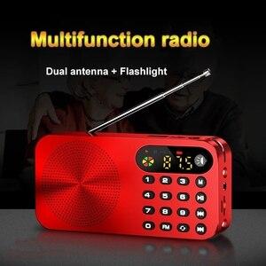 Image 1 - מיני FM רדיו נייד FM מקלט עם LED תצוגת LED אור תמיכת U דיסק TF כרטיס אוזניות לשחק 3600mah נטענת סוללה