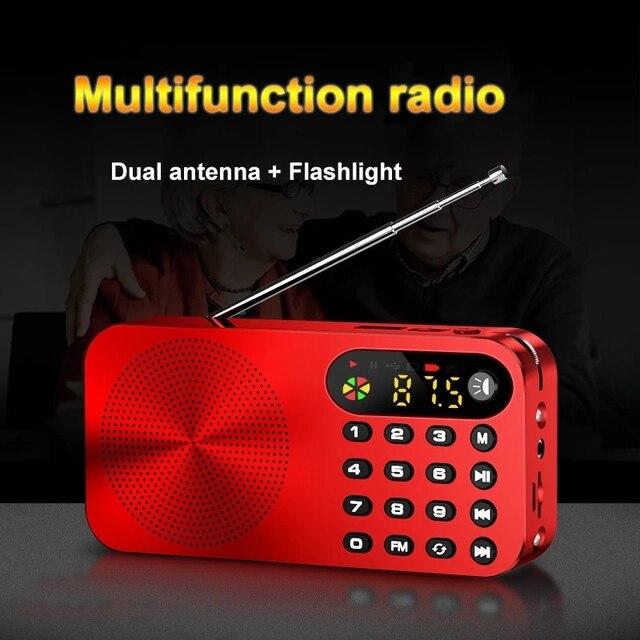 מיני FM רדיו נייד FM מקלט עם LED תצוגת LED אור תמיכת U דיסק TF כרטיס אוזניות לשחק 3600mah נטענת סוללה