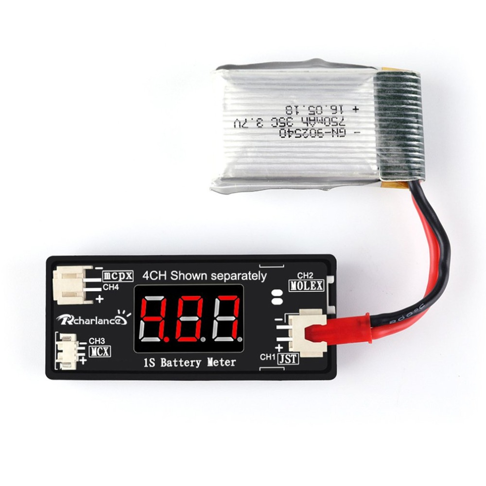 RC 1S LiPo Battery Voltage Checker Tester Meter for RC Drone Quadcopter Battery Supporting JST MCX PH 2.0,Micro Losi Cable image