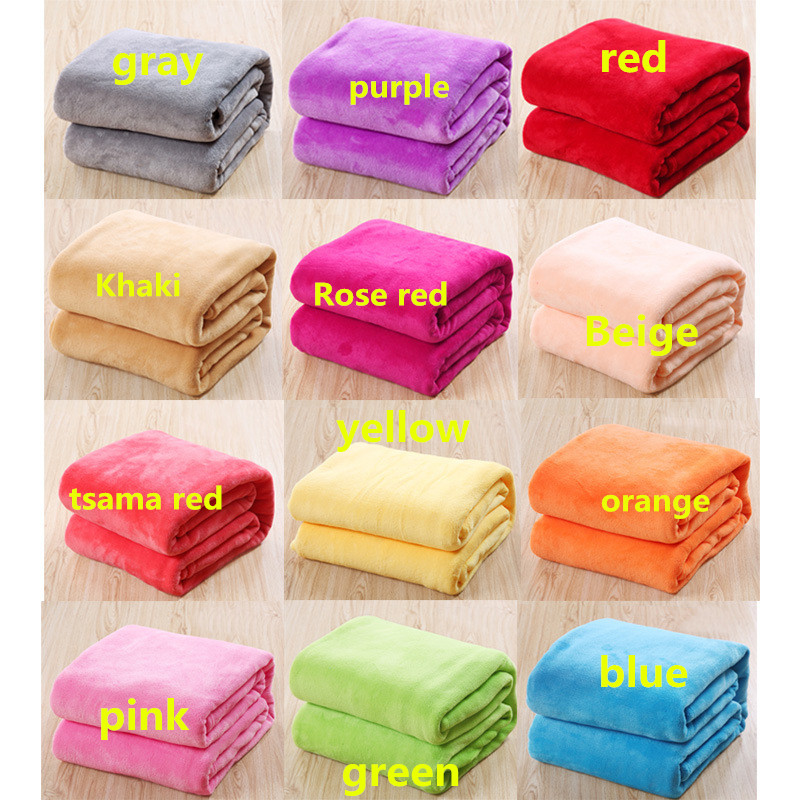 Solid Color Ultra Soft Warm Double Faced Travel Thickened Flannel Throw Fleece Blanket Rug Bed Sofa Couch Pad Christmas Gift