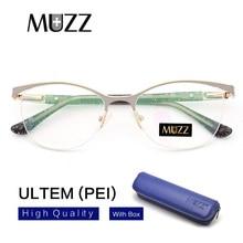 MUZZ Cat Eye styl kobiety oprawki do okularów korekcyjnych metalowe okulary rama kobiety okulary na receptę jasne krótkowzroczno