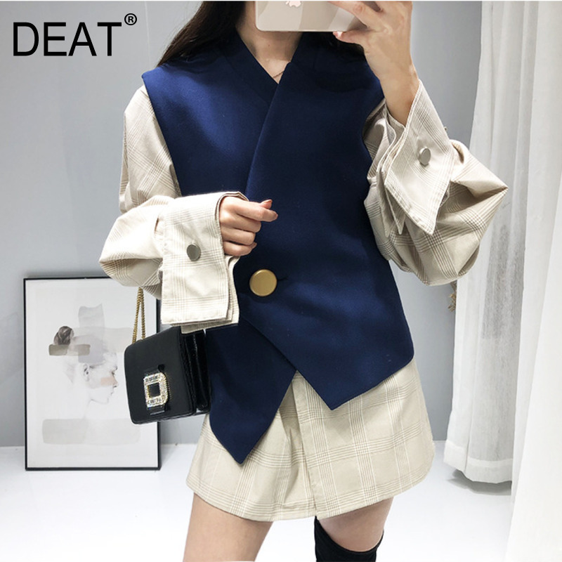DEAT Blue Single Buckle Irregular Vest Lapel Long Sleeve Striped Dress Woman Two-piece Casual Fashion 2020 Autumn New TV653