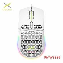DELUX M700 67g Leichte Gaming Maus 16000DPI Waben Shell Design Mäuse mit Weichen seil Kabel und Software Für gamer PMW3389