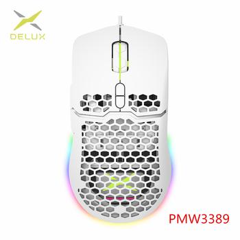 DELUX M700 67g lekka mysz do gier 16000DPI Honeycomb Shell Design myszy z miękkim kabel linowy i oprogramowanie dla graczy PMW3389 tanie i dobre opinie CN (pochodzenie) PRZEWODOWY Optoelektroniczne Aug-12 M700 PMW3389 (White) Prawo 1000Hz RGB (1 68 million chroma) Omron 10 Million