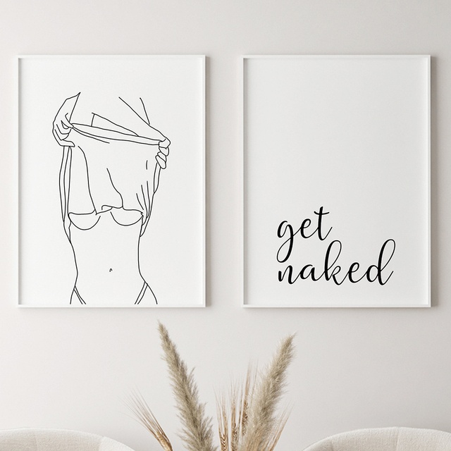 Bathroom Wall Decor Canvas Painting Get Naked Sign Canvas Art Poster One Line Sexy Woman Drawing Canvas Picture Fashion Painting