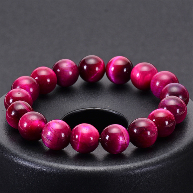Minimalist Natural Stone Bead Rose Red Tiger Eye Bracelet Beaded Men Buddha Braclet For Woman Yoga Handmade Jewelry Homme Bijoux