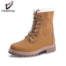 VESONAL 2019 חורף זמש עור חם שלג נעלי נשים מגפי אמצע עגל קטיפה פרווה קטיפה מגפי נעלי אישה הנעלה