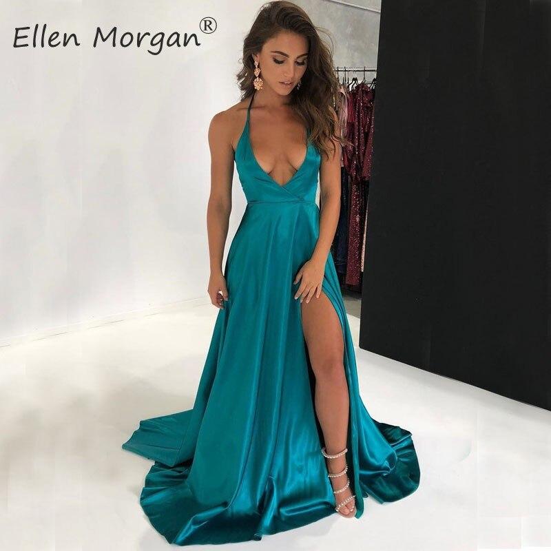 Split Sexy Backless Satin   Prom     Dresses   Long 2019 Halter A Line Court Train Special Occasion Vestido De Gala Events Party   Dress