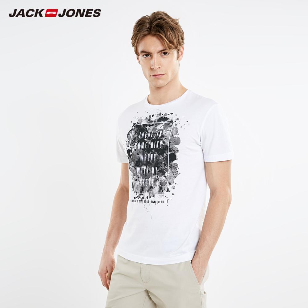 JackJones Men's Spring Slim Fit Ink Print Round Neckline Short-sleeved Streetwear T-shirt| 219201553