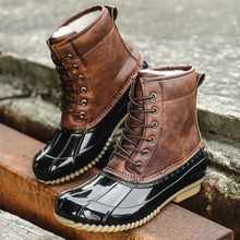 الشتاء الدافئة محب الصيد بطة الأحذية المضادة للتزلج أحذية ثلج النساء الأحذية مقاوم للماء الإناث الأحذية بوتاس الإناث حذاء من الجلد