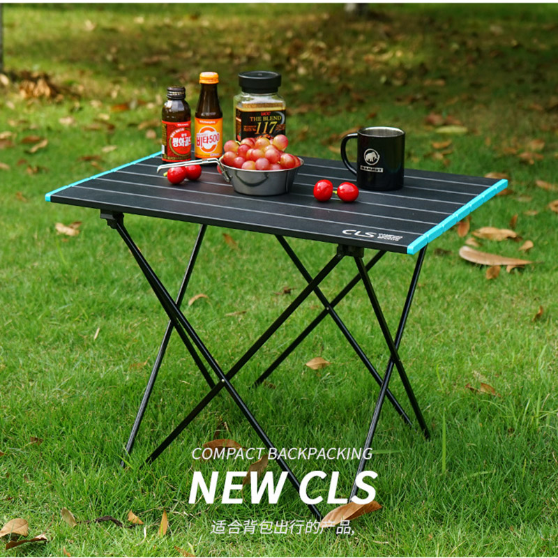 2020 new folding table Aluminum alloy portable barbecue table Outdoor portable picnic table Self-driving camping aluminum plate image