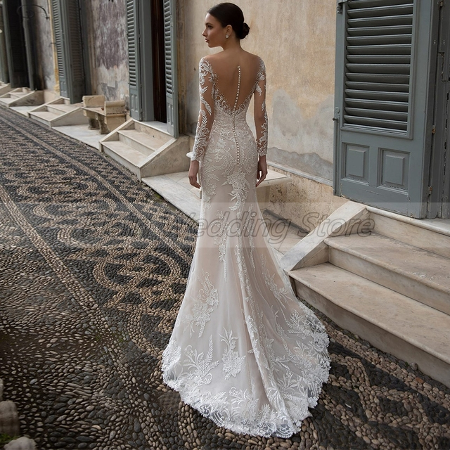 Elegant Embroidery Lace Bridal Dresses Sexy V-neck Long Sleeve Sweep Train Mermaid Wedding Dresses with Crystal 2