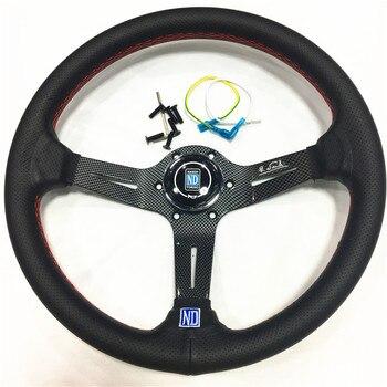 350mm leather  steering wheel black Deep Corn Dish spoke 14 Inch nd racing car steering wheel ND Horn