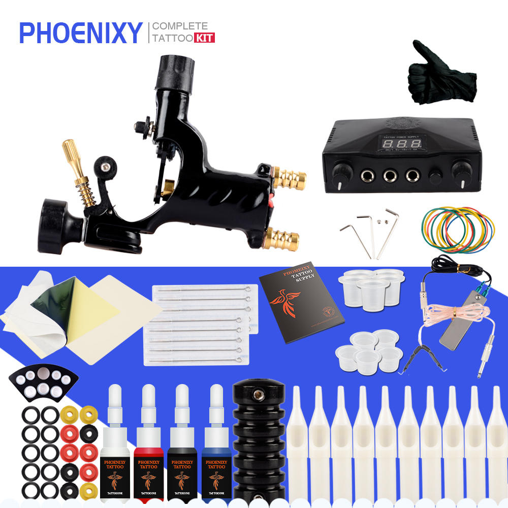 Tattoo Machine Kit 1 Rotary Machine Gun Supply Power 4 Colors Inks Pigment Needles Tattoo Accessories For Completed Tattoo Set