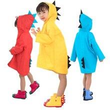 Детский плащ-дождевик унисекс с шапкой, ветронепроницаемое разноцветное пончо с динозавром для мальчиков и девочек 2-6 лет, детская одежда