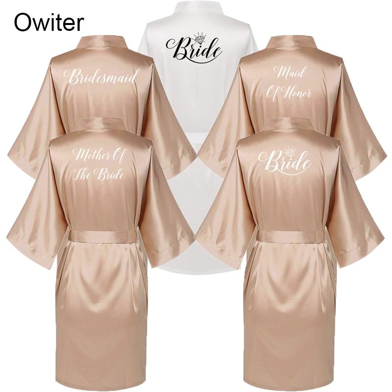2019 Women Satin Dressing Gown Wedding Bride Bridesmaid Kimono Robe Sleepwear