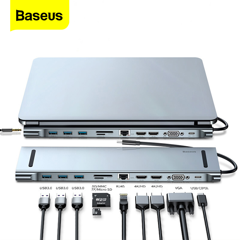 Baseus USB C HUB For Macbook Pro Air USB-C Type C HUB to 4KHD VGA RJ45 Multi Ports USB 3.0 USBC Type-c HUB with PD Power Adapter
