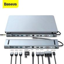 Baseus-concentrador de red USB C para Macbook Pro Air USB-C, HUB tipo C a 4KHD VGA RJ45, multipuertos USB 3,0, USBC, con adaptador de corriente PD