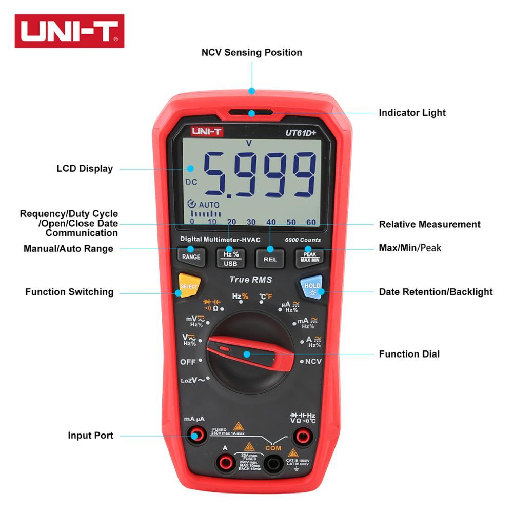 RMS Audible Visible Multimeter 1000V  Digital UT61B  With And True T UT61E UT61D  UNI Equipped Alarm