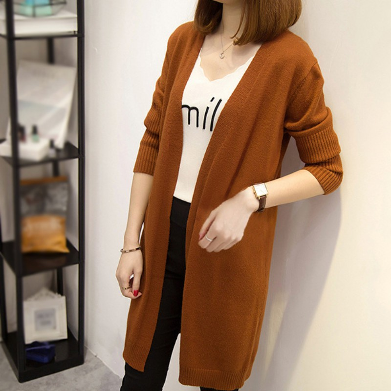 4 Colors New Autumn And Winter Loose Long Solid Color Casual Sweater Cardigan Knitted Long Sleeve Cardigan Coat