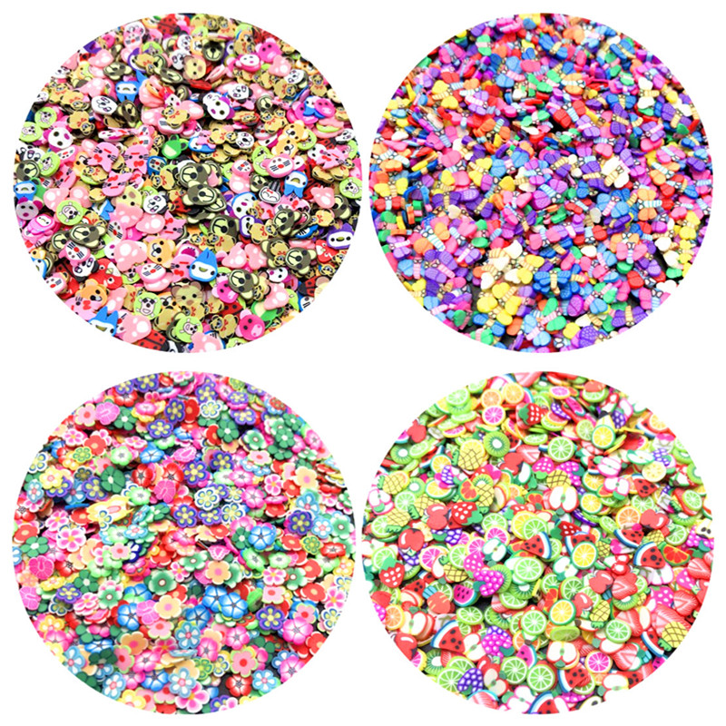 1000Pcs 3-6mm Mixed Flower Clay Beads Decoration Crafts Flatback Cartoon Scrapbook Fit Phone Embellishments Diy Accessories