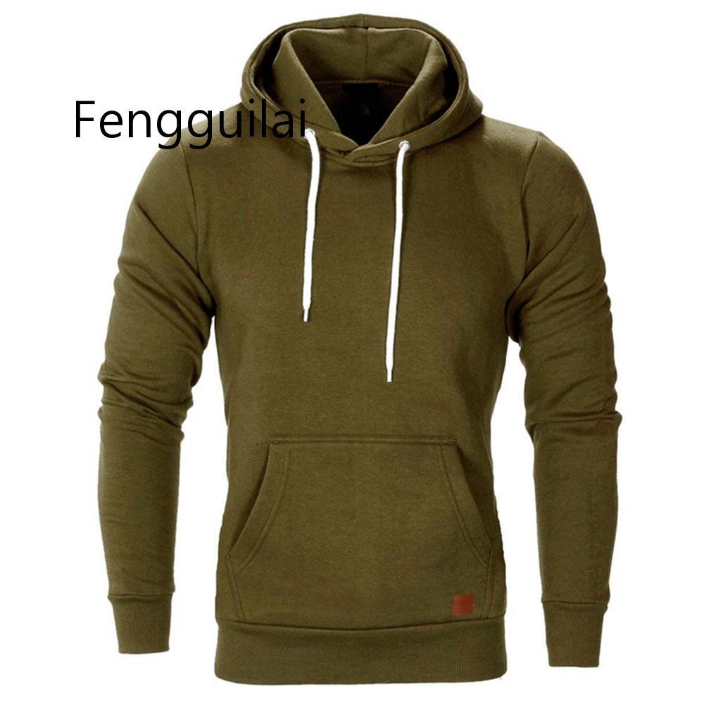 2020 New Autumn Winter Fashion Color Hoody Male Large Size Warm Fleece Coat Men Brand Sweaters Hooded Sweat Shirts