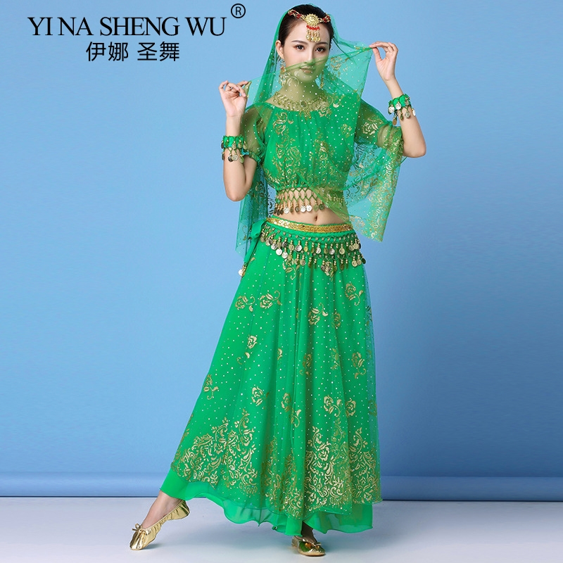 Bollywood Dress Adult Costume Women <font><b>Indian</b></font> Dance Set Belly Dance <font><b>Sari</b></font> Clothing Dance Performance Clothes Chiffon <font><b>Skirt</b></font> Set New image