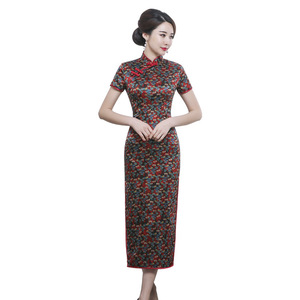 Image 5 - 2019 Time limited Quinceanera Spring And Summer New Retro Elegant Long Cheongsam Chinese Style Short Sleeve Tang National Silk
