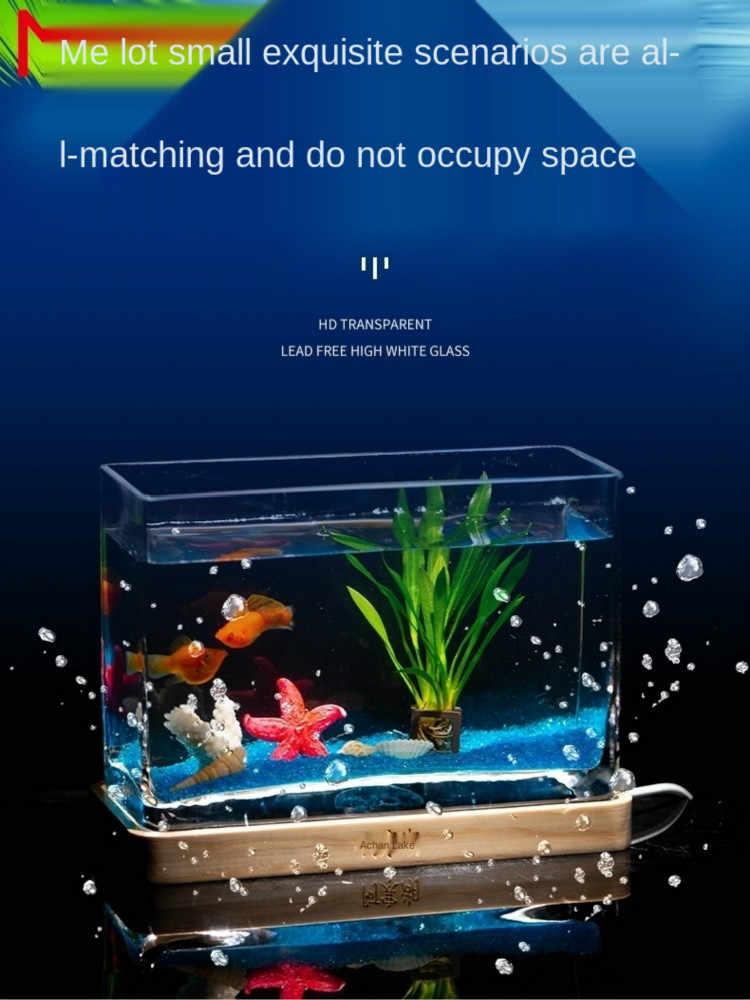 Glazen Aquarium Woonkamer Kleine Rechthoekige Mini Aquarium Thuis Vis Globe Landschap Desktop Creativiteit Betta Tank Aquariums Reservoirs Aliexpress
