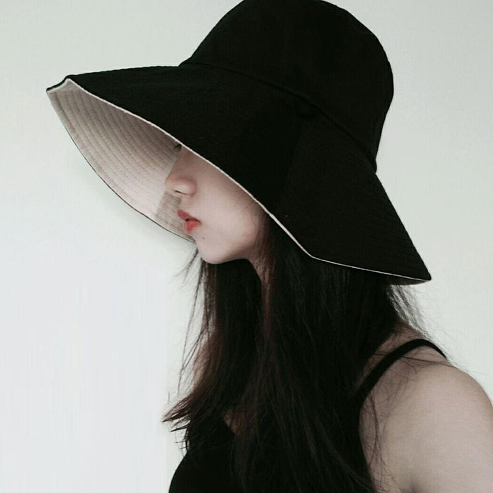 Women Sunscreen Hats Fisherman Hat Female Summer Korean Japanese Style Solid Red Double-faced Face Hat Travel Sun Hat